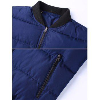 Stand Collar Zipper Up Patch Quilted Jacket - RED 3XL