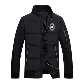 Graphic Printed Stand Collar Quilted Zipper Jacket