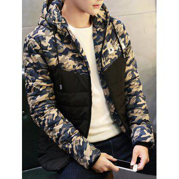 Zipper Up Quilted Hooded Camo Jacket