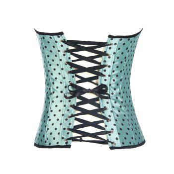 Halter Lace Up Polka Dot Corset Top - GREEN L