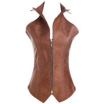 Criss Cross Faux Leather Corsets