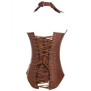 Criss Cross Faux Leather Corsets - COFFEE S
