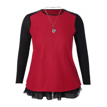 Plus Size Ruffled Leather Insert Mini Dress with Necklace - RED RED