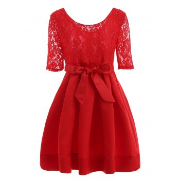 Lace Insert Vintage Dress With Belt