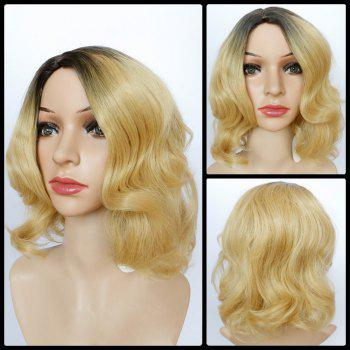 Short Shaggy Wavy Side Parting Color Mixed Synthetic Wig
