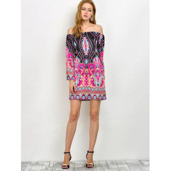 Off The Shoulder Bohemian Print Tunic Dress - PINK M