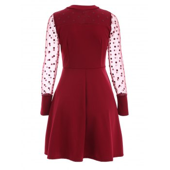 Fit and Flare See Thru Dress - WINE RED M