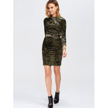 Slim Fit Ruched Velvet Tight Bodycon Dress - OLIVE GREEN S