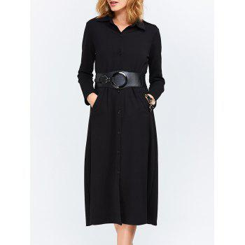 Long Sleeves Button Down Belted Shirt Dress