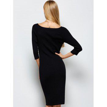 Scoop Neck Kneel Length Ribbed Knit Bodycon Dress - BLACK L