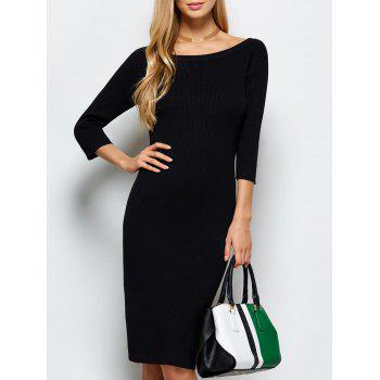 Scoop Neck Kneel Length Ribbed Knit Bodycon Dress