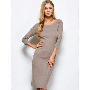 Scoop Neck Kneel Length Ribbed Knit Bodycon Dress - KHAKI M