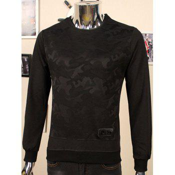 Flocking Crew Neck Camouflage Applique Sweatshirt
