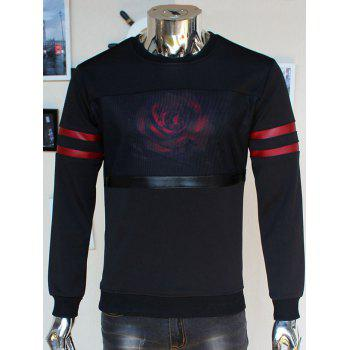 Flocking Crew Neck 3D Rose Print Stripe Spliced Sweatshirt
