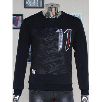 Flocking Crew Neck Camouflage Number 11 Zipper Sweatshirt