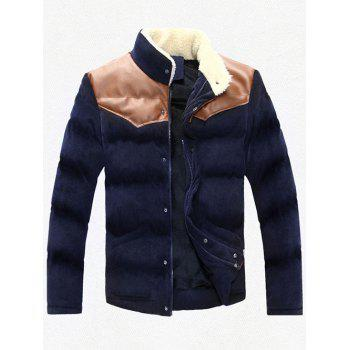 Stand Collar Plus Size PU Leather Spliced Corduroy Flocking Jacket