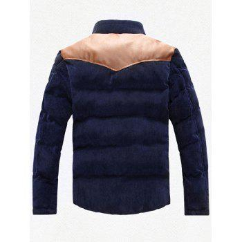 Stand Collar Plus Size PU Leather Spliced Corduroy Flocking Jacket - CADETBLUE L
