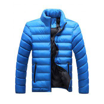 Stand Collar Plus Size Zip Up Down Jacket