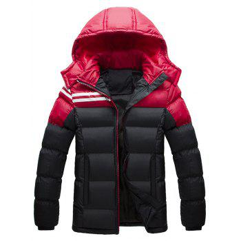 Hooded Plus Size Color Block Spliced Stripe Down Jacket