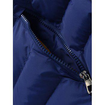Hooded Plus Size Zip Up Slimming Down Jacket - CADETBLUE M