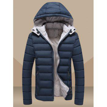 Hooded Plus Size Zip Up Slimming Down Jacket