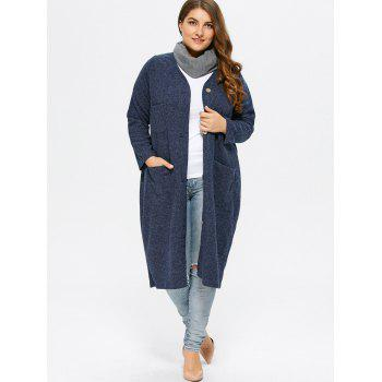 Collarless Button Up Long Coat - DEEP BLUE ONE SIZE