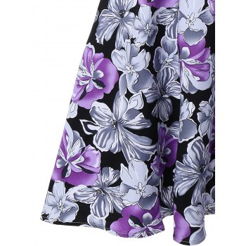 Floral Print Vintage Swing A Line Dress - PURPLE XL