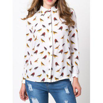 Birds Printed Hidden Chiffon Button Down Shirt