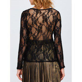Sheer Long Sleeve Lace Back T-Shirt