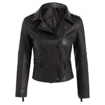 Faux Leather Asymmetric Zip Short Biker Jacket