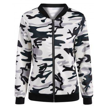 Camouflage Zippered Bomber Jacket