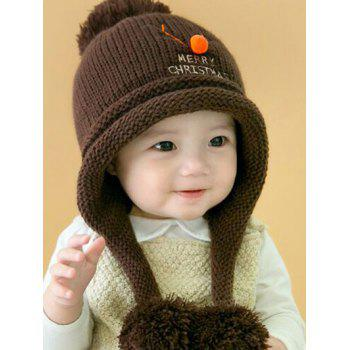 Christmas Elk Pattern Knitted Plush Baby Pom Hat