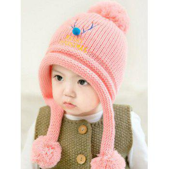 Christmas Elk Pattern Knitted Plush Baby Pom Hat - PINK PINK