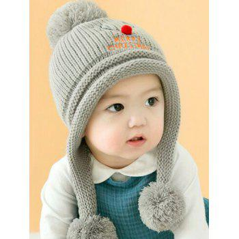 Christmas Elk Pattern Knitted Plush Baby Pom Hat - GRAY GRAY