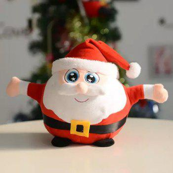 Christmas Gift Santa Singing Flash Plush Stuffed Doll - RED