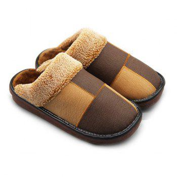 Stitching Colour Block Plaid House Slippers