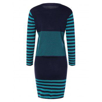Striped Knitwear and Slit Skirt Twinset - BLUE BLUE