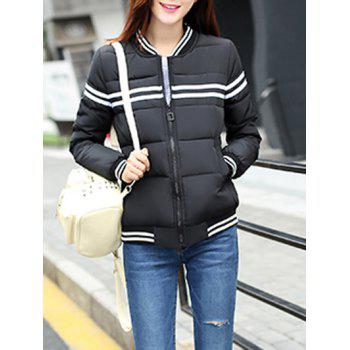 Stripe Panel Padded Bomber Jacket