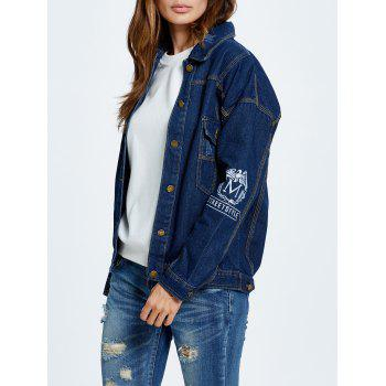 Letter Embroidered Button Up Denim Jacket