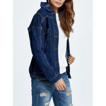 Letter Embroidered Button Up Denim Jacket - M M