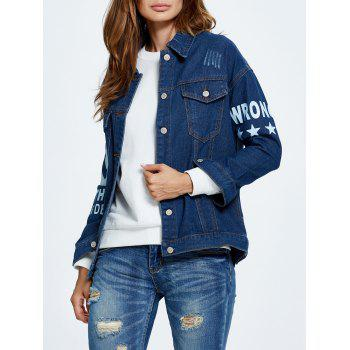 Letter Graphic Button Up Jean Jacket with Sleeves