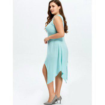 Plus Size Sleeveless Handkerchief Dress - AZURE AZURE