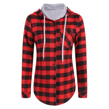Plus Size Hooded Plaid Blouse