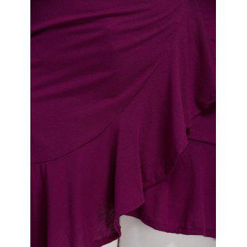 Low Cut Plus Size Flounce Blouse - PURPLISH RED PURPLISH RED