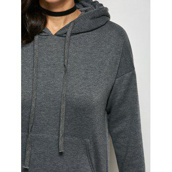 Pocket Slit Hooded Dress - GRAY M