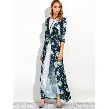 Three Quarter Sleeves Longline Floral Print Duster Coat - S S
