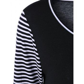 Pockets Design Striped Trim T-Shirt - WHITE/BLACK WHITE/BLACK