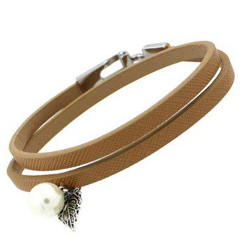 PU Leather Leaf Pearl Bracelet