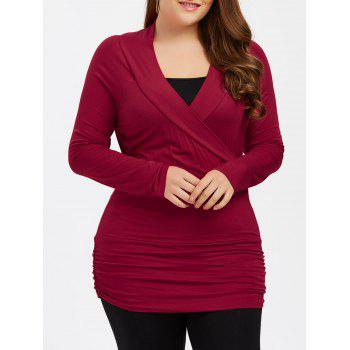 Plus Size Ruched Fitted T-Shirt with Long Sleeve - BURGUNDY 3XL