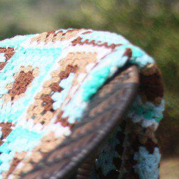 Plaid Patchwork Crochet Knitting Throw Blanket -  MINT